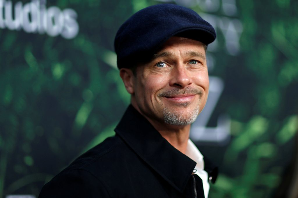 Producer Brad Pitt poses at the premiere of the movie