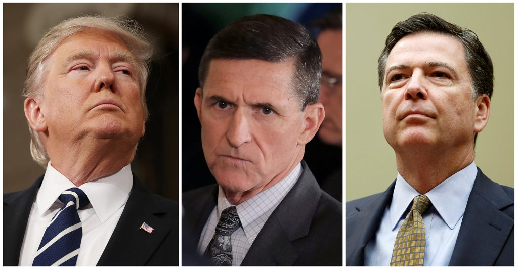 Donald Trump, Michael Flynn y James Comey. FOTO REUTERS