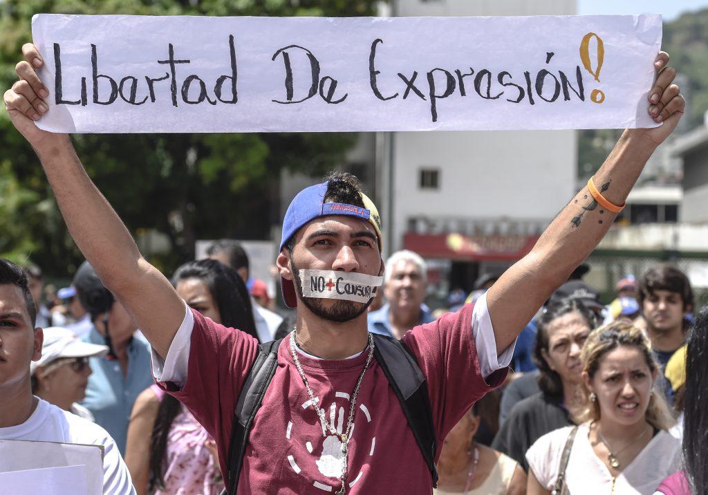 Protesta de este martes 27 en Caracas. AFP.