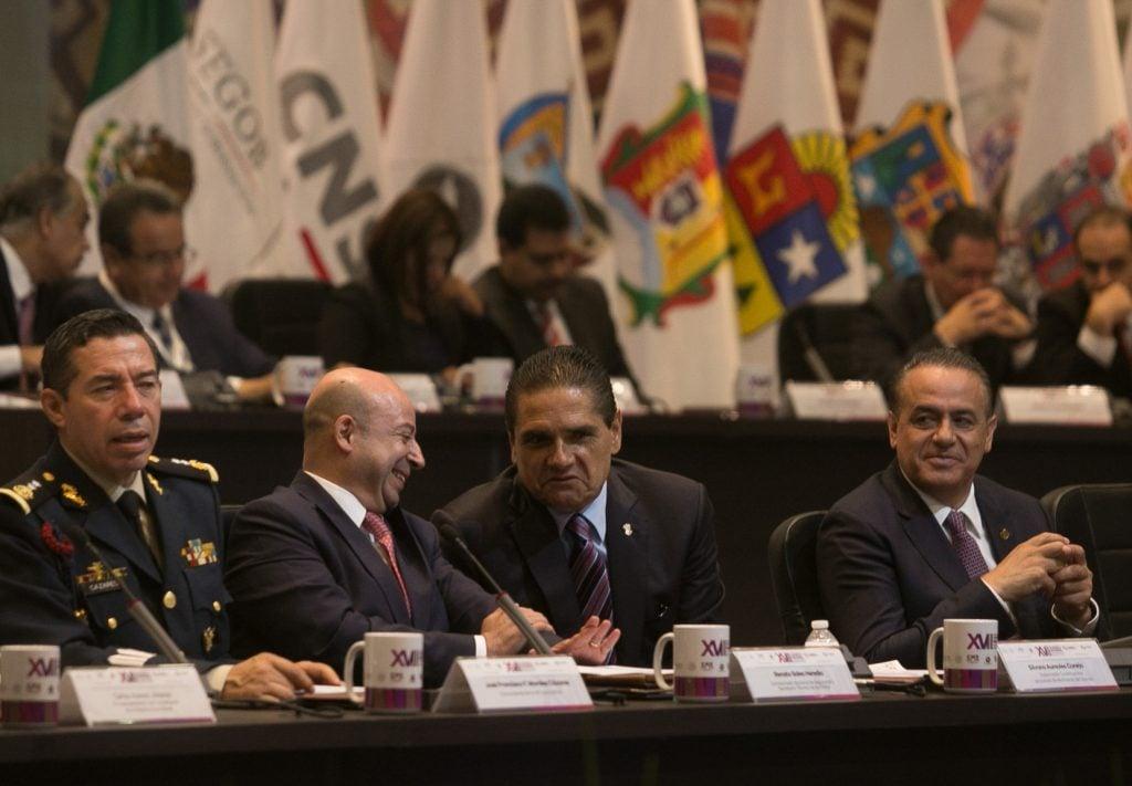 Con la presencia Renato Sales, Comisionado Nacional de Seguridad (CNS), y Silvano Aureoles Conejo, gobernador del estado, se inauguró la 17 Sesión ordinaria de la Conferencia Nacional Secretarios de Seguridad Pública. FOTO: ARMANDO SOLÍS /CUARTOSCURO.COM