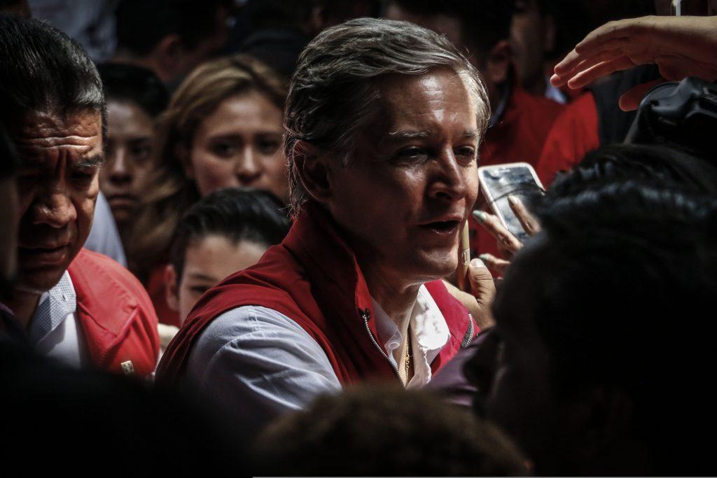 El candidato por la coalición PRI, Nueva Alianza, PES y Verde Ecologista Alfredo del Mazo en compañía Enrique Reza Ochoa presidente del PRI encabezaron el tercer y último  cierre de campaña,  FOTO: RASHIDE FRIAS /CUARTOSCURO.COM