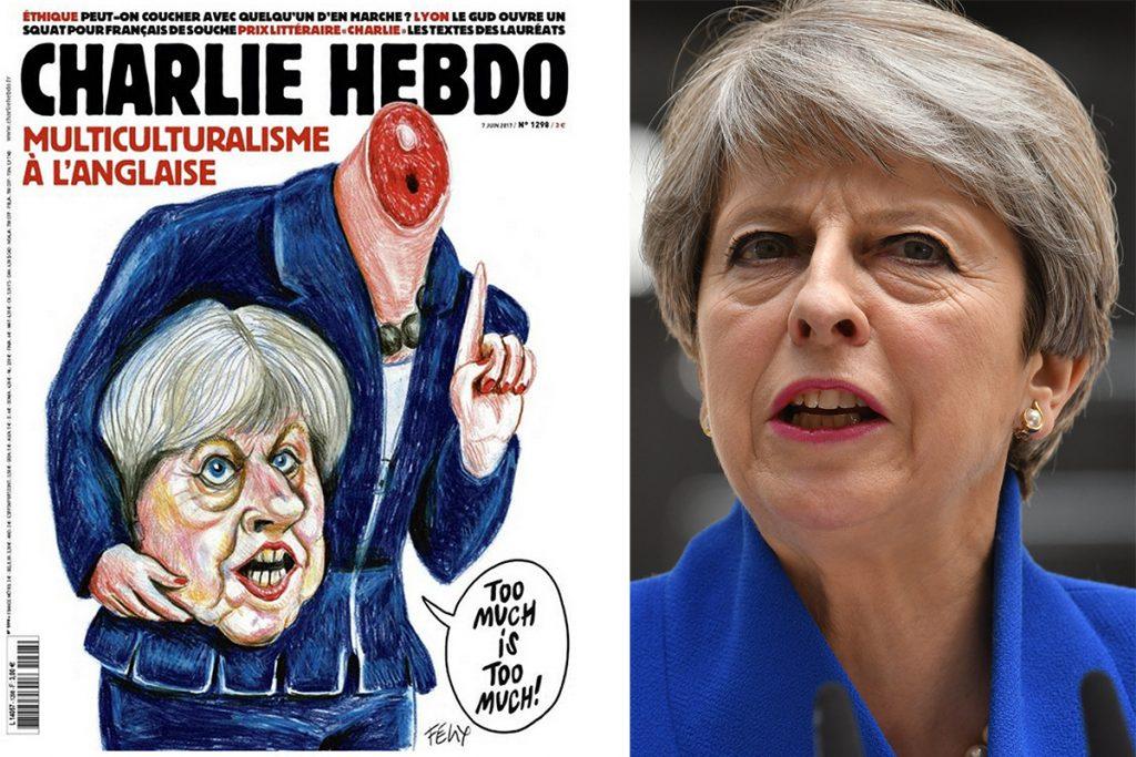 Charlie Hebdo 'decapita' a Theresa May en su nueva portada