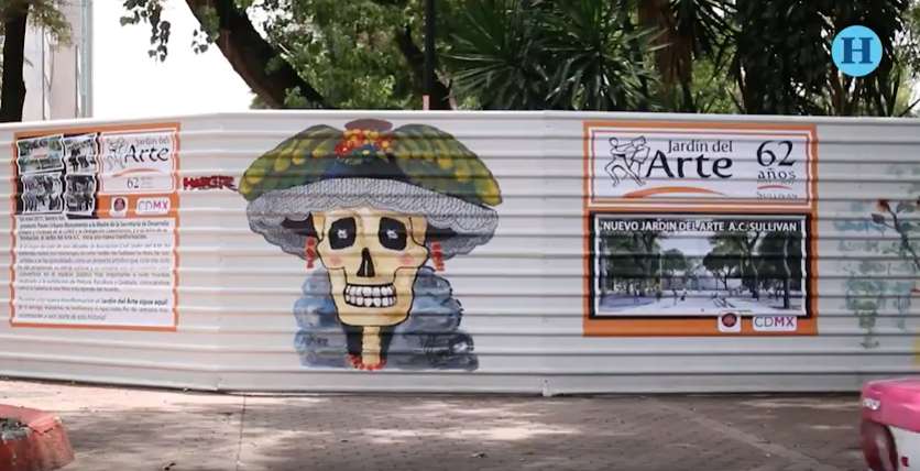 Usan vallas como lienzo y pintan un mural