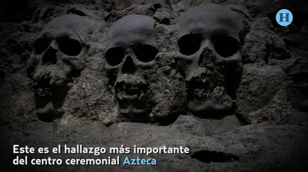 Descubren cráneos de niños y mujeres en el Gran Tzompantli