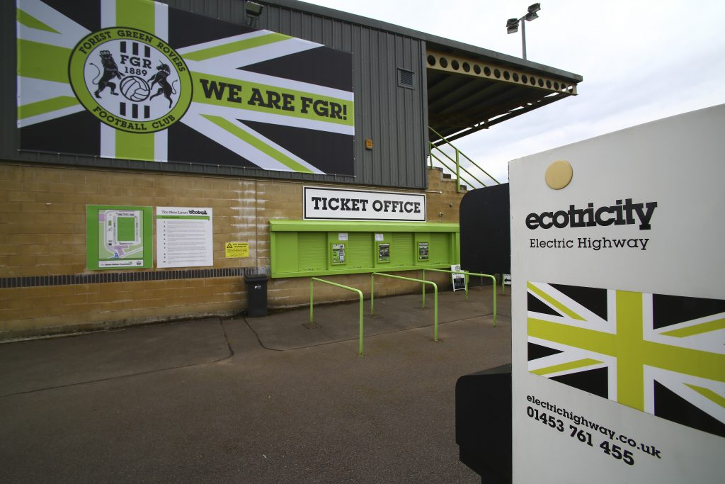 The New Lawn Stadium, the home football ground of Forest Green Rovers, is pictured in Nailsworth, western England, on August 8, 2017, ahead of the EFL (English Football League) Cup football match between Forest Green Rovers and MK Dons. Here, fries are
