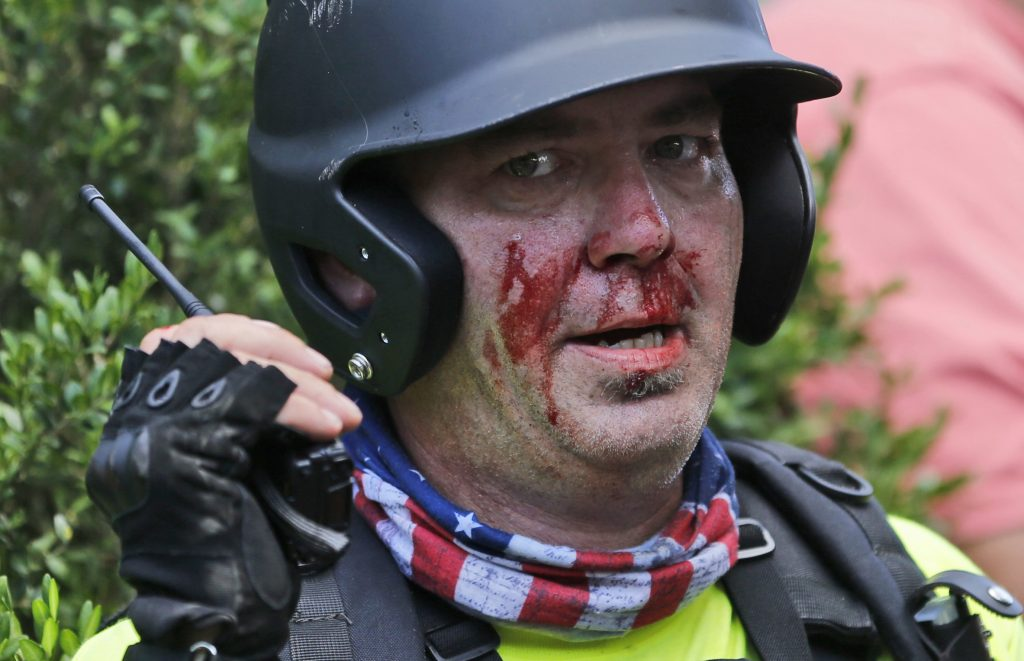 Nacionalista blanco en los disturbios de Virginia. @AP