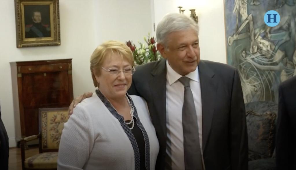 AMLO se reúne en Chile con Michelle Bachelet