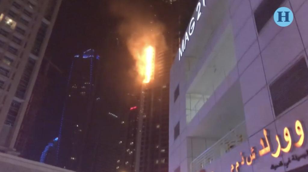 Incendio en el rascacielos The Torch en Dubai