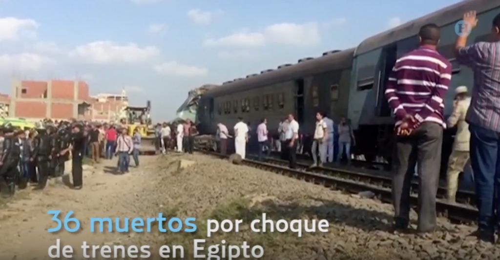 Choque de trenes en Egipto deja 36 muertos