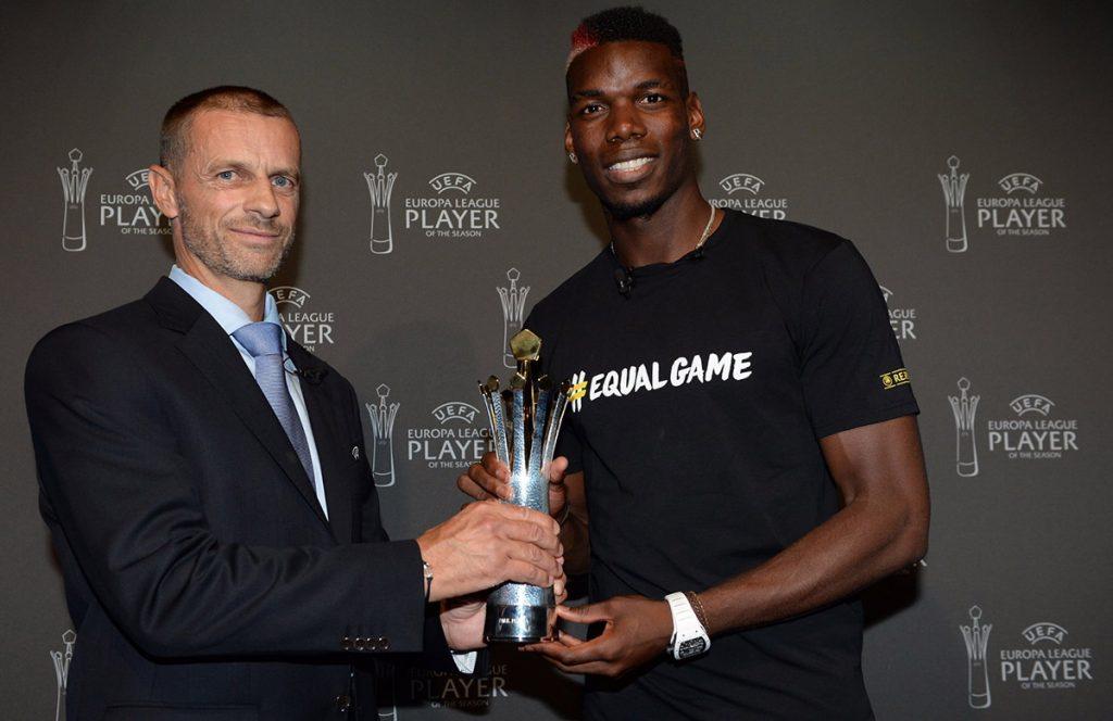 Paul Pogba recibe premio como el Mejor jugador de la Europa League