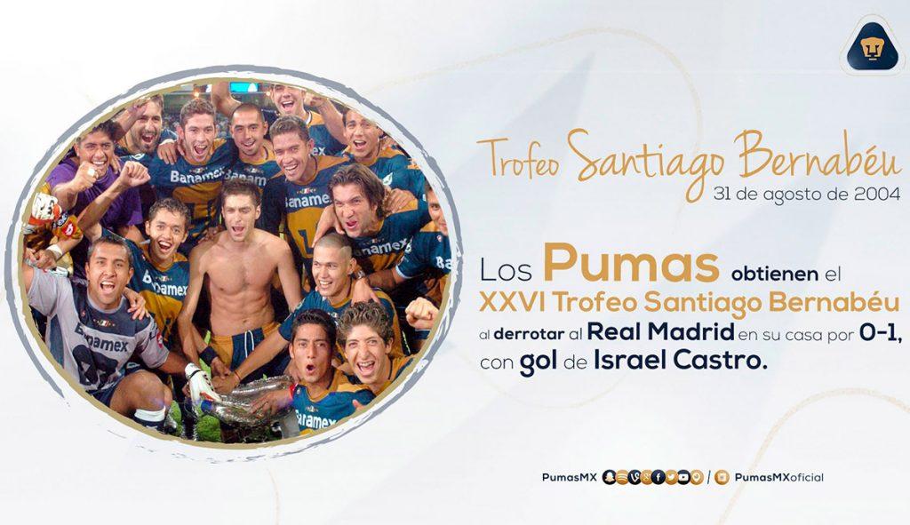 El 31 de agosto del 2004, los Pumas de Hugo Sánchez vencían 1-0 a los Galácticos del Real Madrid para 'arrebatarles' el Trofeo Santiago Bernabéu.