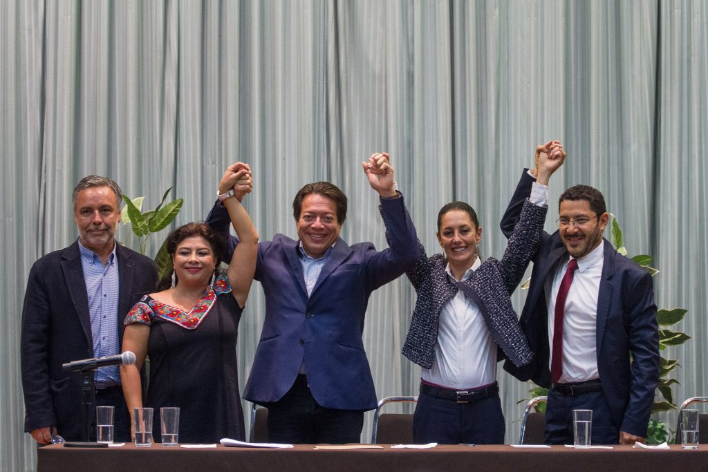 Conferencia de nombramiento de Sheinbaum como coordinadora de organizacion de Morena en la Ciudad de Mexico. CUARTOSCURO.