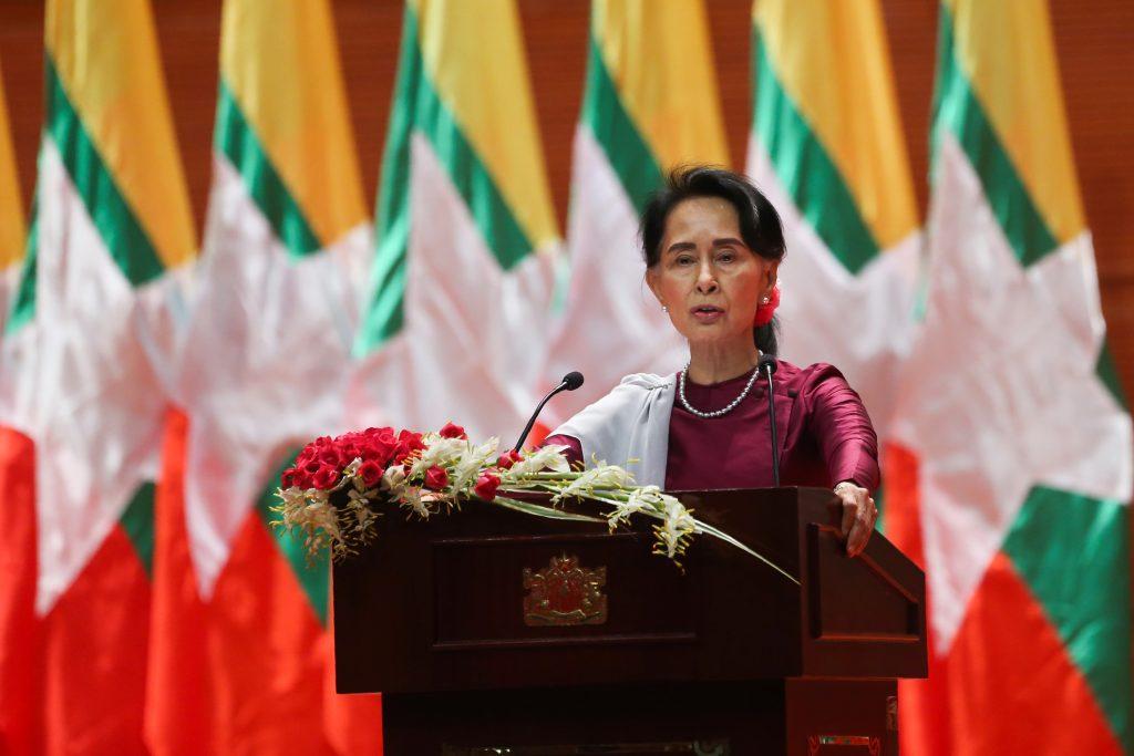 San Suu Kyi en conferencia este día. AFP.