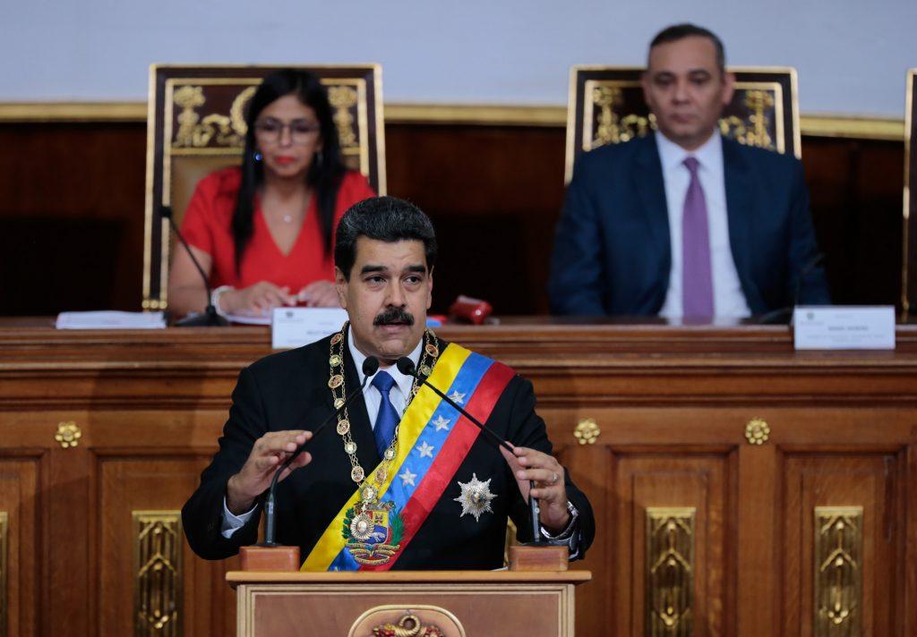 Nicolás Maduro en la  Asamblea Nacional Constituyente este día. EFE.