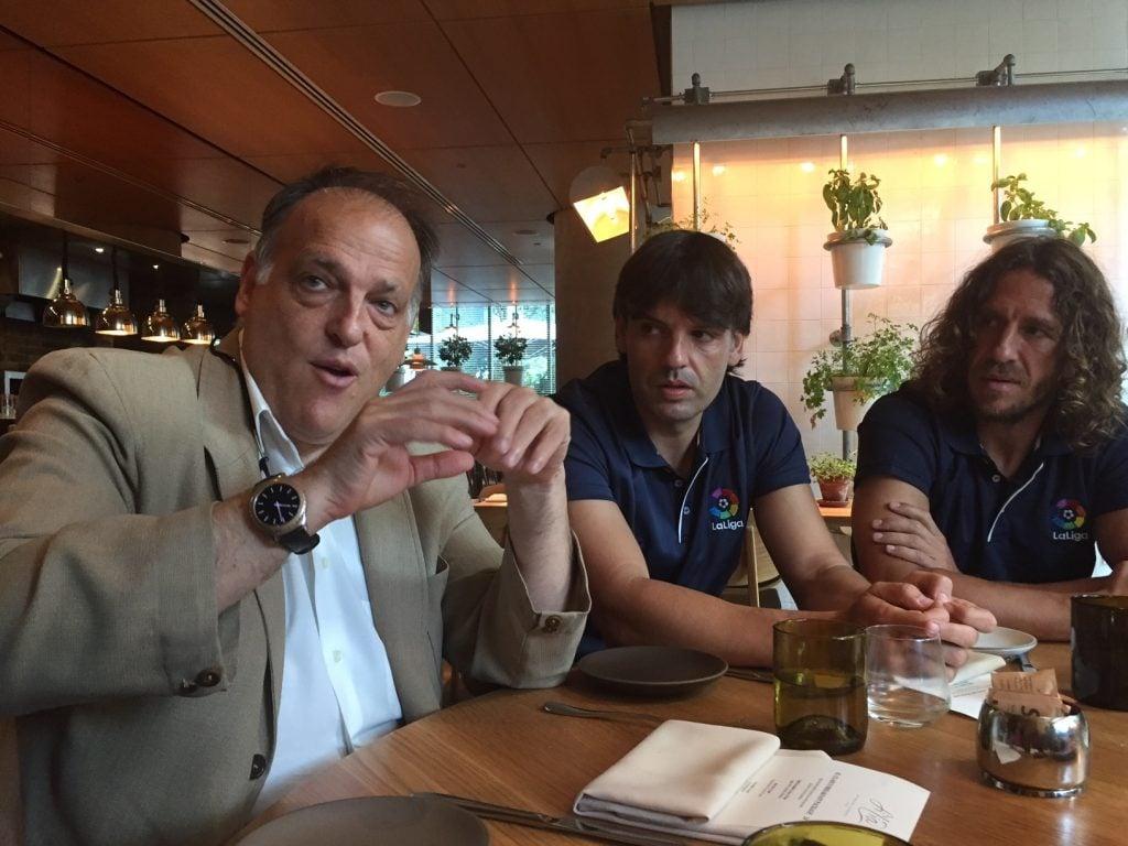 Javier Tebas, Fernando Morientes, Carles Puyol. @AP