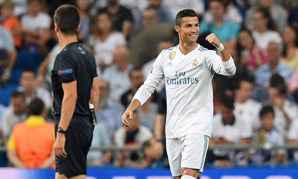 Cristiano Ronaldo marca doblete en el debut del Real Madrid en la Champions League.