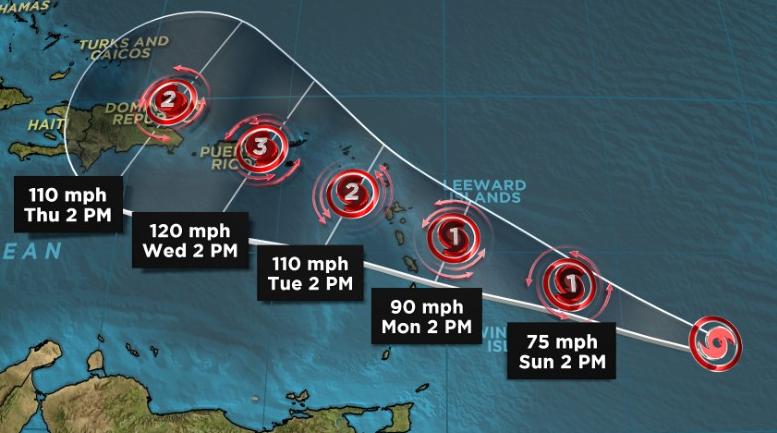 Huracán María alcanza categoría 3, se cancelan vuelos de ayuda a las islas