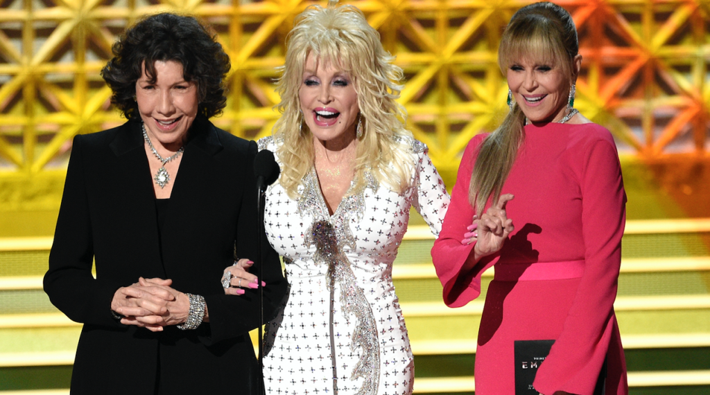 Lily Tomlin, Dolly Parton y Jane Fonda. @AP