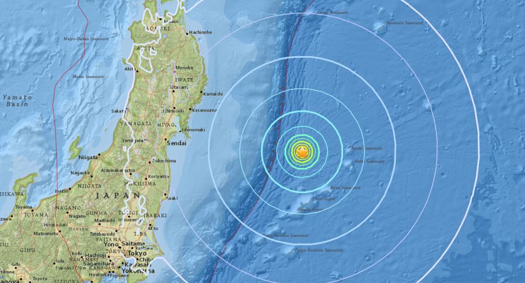 Se registra sismo de 6.1 grados en las costas de Japón