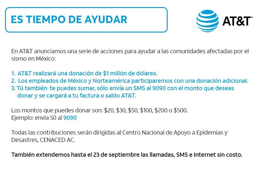 AT&T donará un millón de dólares para víctimas del sismo de la CDMX