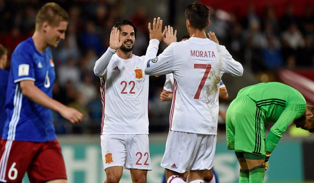 La selección de España despedazó a Liechtensein para acercarse a Rusia; Serbia 1-0 a Irlanda e Islandia 2-0 a Ucrania.
