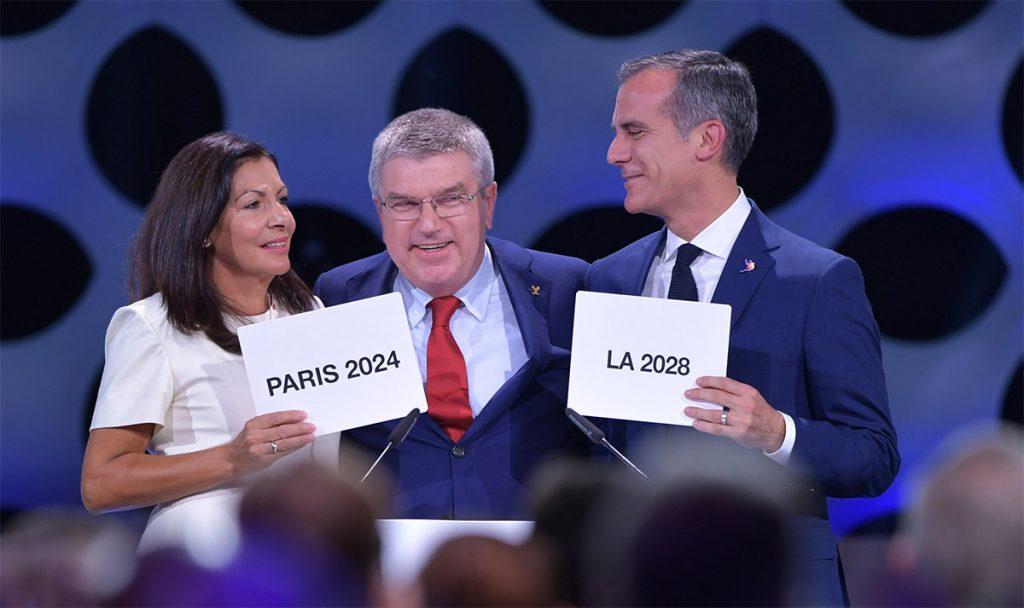 El Comité Olímpico Internacional (COI) aprobó la doble atribución de los Juegos Olímpicos a París 2024 y Los Ángeles 2028; ambas ciudades son sede por tercera vez.