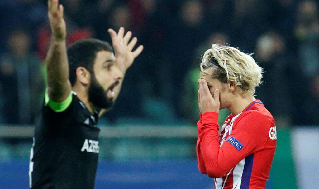 El Atlético de Madrid no pudo con el Qarabag y terminó con un decepcionante 0-0 que compromete la clasificación de los colchoneros
