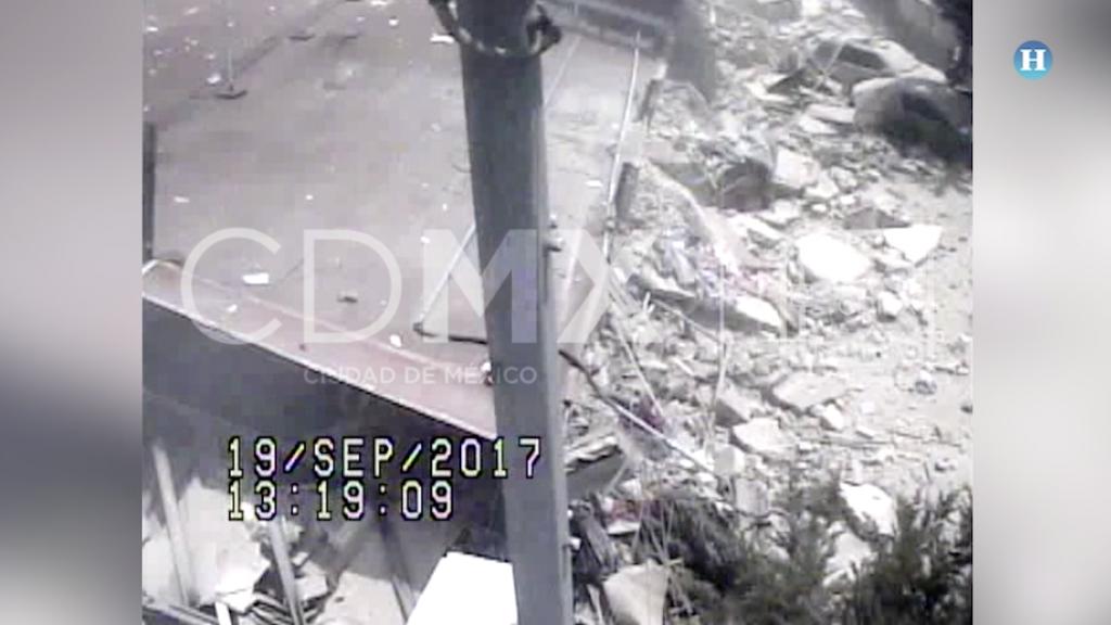Cámaras del C5 captaron los derrumbes en la CDMX tras el sismo
