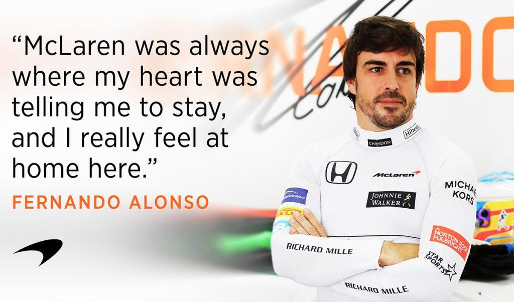 El piloto español Fernando Alonso renovó su contrato con la escudería McLaren por una temporada más.