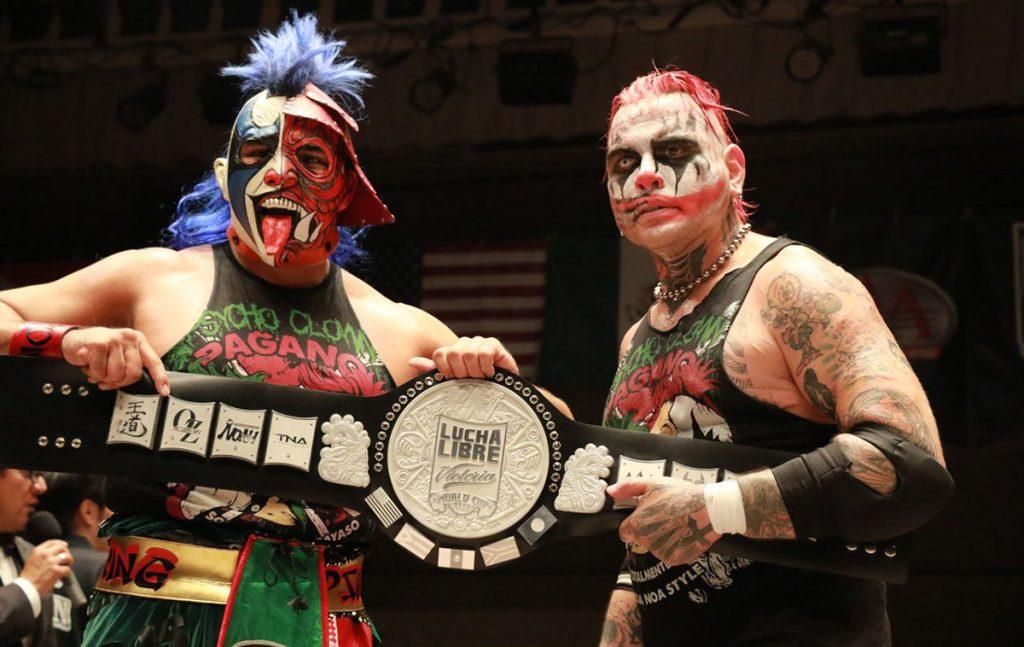 La dupla mexicana integrada por Psycho Clown y Pagano se proclamaron campeones de la edición 2017 de la Lucha Libre World Cup celebrada en Tokio.