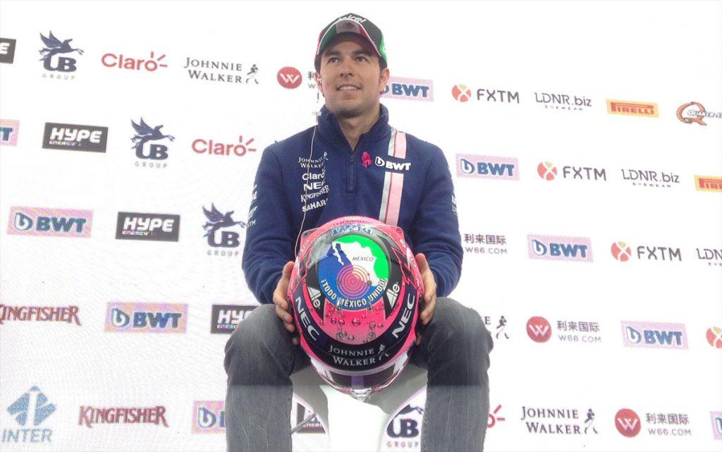 Pese a los accidentes que tuvieron por exceso de competitividad, Sergio Pérez y Estaban Ocon mejoraron su relación en pro de Force India; Checo presenta casco en apoyo de damnificados