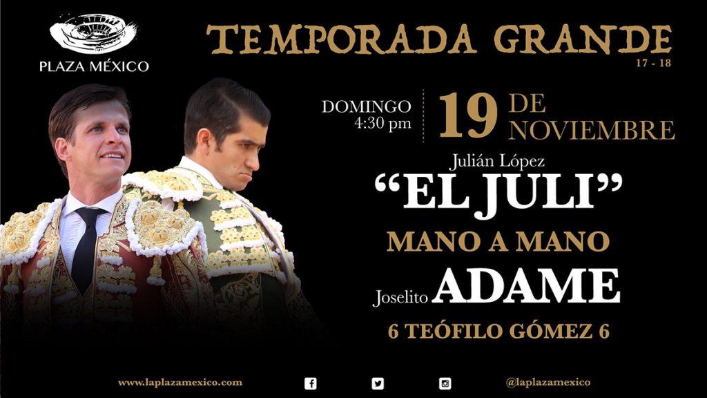 Se presentaron los primeros 8 carteles de la Temporada Grande 2017-2018 de la Plaza México; la corrida del 12 de diciembre será a beneficio de damnificados por los sismos