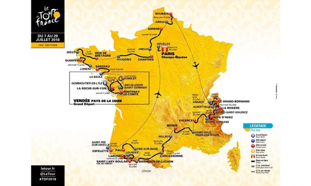 La legendaria vuelta ciclista a Francia presenta las 21 etapas que conforman los tres mil 329 kilómetros del recorrido con rutas inéditas para la edición 2018.