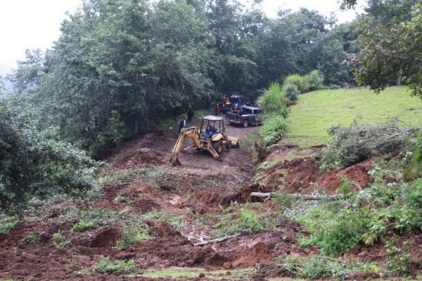 Se registran derrumbes en Hidalgo por recientes lluvias