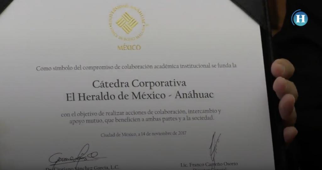 Universidad Anáhuac y El Heraldo de México firmaron Cátedra Corporativa