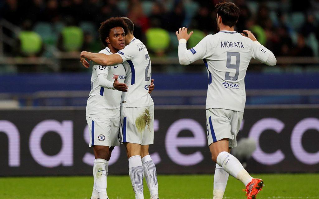 El Chelsea inglés goleó 4-0 al Qarabag en Azerbaiyán y el CSKA de Moscú venció 2-0 al Benfica para dejarlo eliminado de Europa