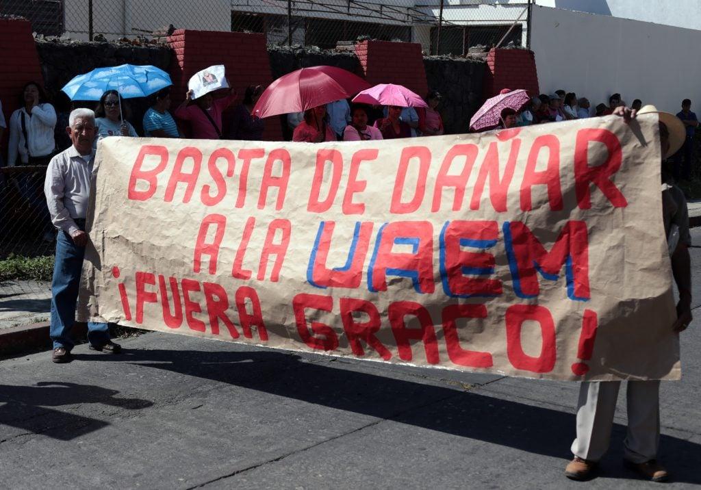 Manifestación en apoyo del rector Alejandro Vera. CUARTOSCURO.