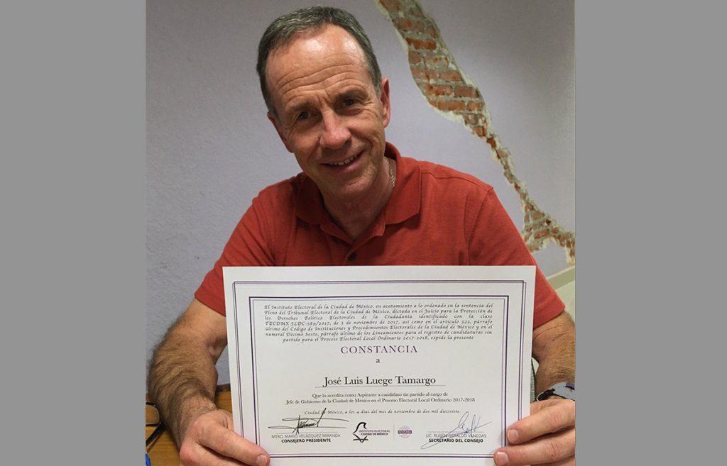José Luis Luege Tamargo recibió el registro por parte del IECM como precandidato sin partido a la Jefatura de Gobierno de la Ciudad de México