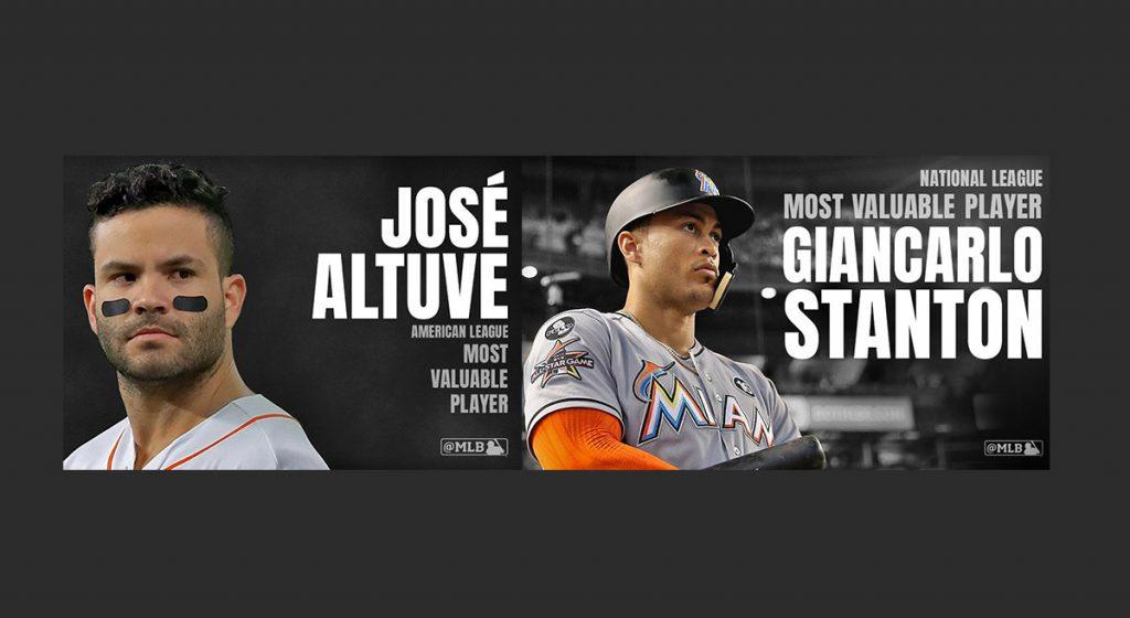 El venezolano José Altuve de los campeones Astros fue elegido MVP de la Liga Americana y Giancarlo Stanton de Miami MVP de la Nacional