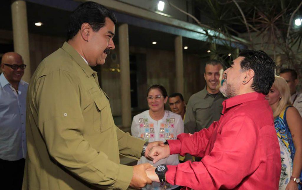 El astro argentino Diego Armando Maradona reitero su apoyo al presidente Nicolás Maduro, tras varias actividades en Venezuela