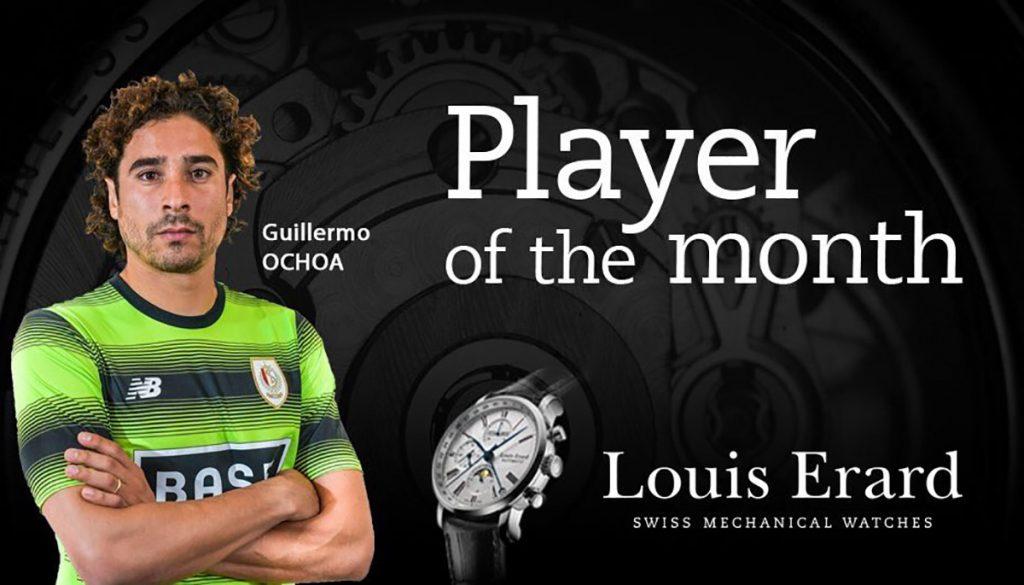 El portero mexicano Guillermo Ochoa fue elegido como el Mejor Jugador durante noviembre por parte del Standard Lieja
