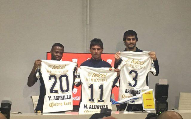 Los Pumas de la UNAM presentaron al colombiano Yuber Asprilla, el argentino Matías Alustiza y al español Alejandro Arribas como sus incorporaciones para el Clausura 2018