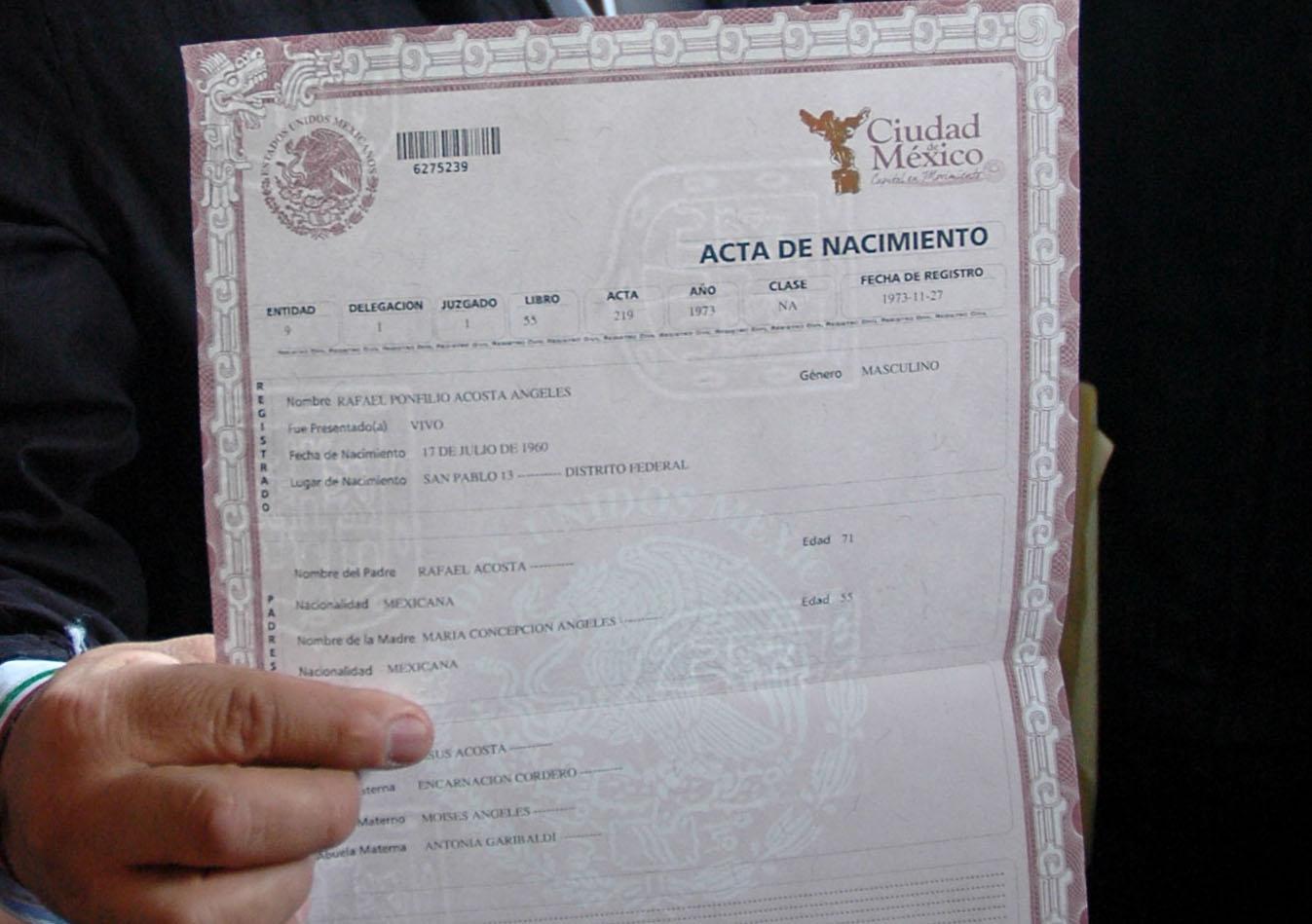 Fantástico Acta De Nacimiento Trichy Ideas - Cómo conseguir mi ...