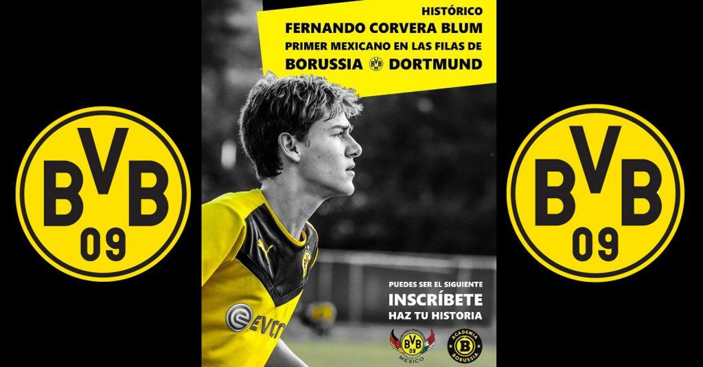 Fernando Corvera Blum de 17 años se convirtió en el primer mexicano en fichar con el Borussia Dortmund; estará a prueba durante dos meses