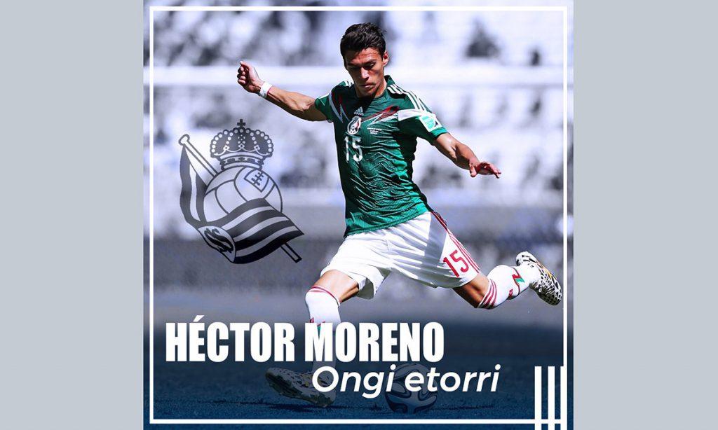 El defensa mexicano Héctor Moreno deja a la Roma para pasar en compra definitiva a la Real Sociedad de San Sebastián
