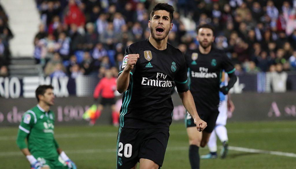 Con gol de último minuto de Marco Asensio, Real Madrid venció 0-1 al Leganés, en partido de ida por los cuartos de final de la Copa del Rey