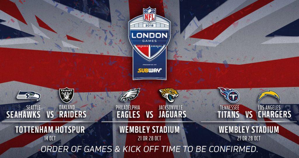 La NFL dio a conocer que la temporada regular del 2018 tendrá 3 partidos en Londres, uno en el estadio de Tottenham y dos en el mítico Wembley