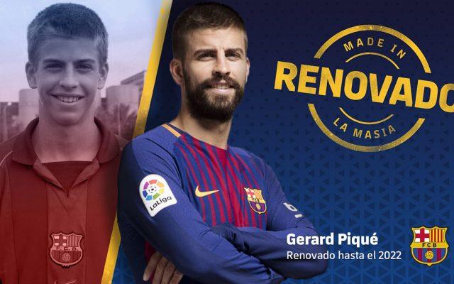 El defensa catalán Gerard Pique renovó contrato con el Barcelona y estará con los blaugrana hasta 2022; su cláusula de rescisión es por 500 millones de euros