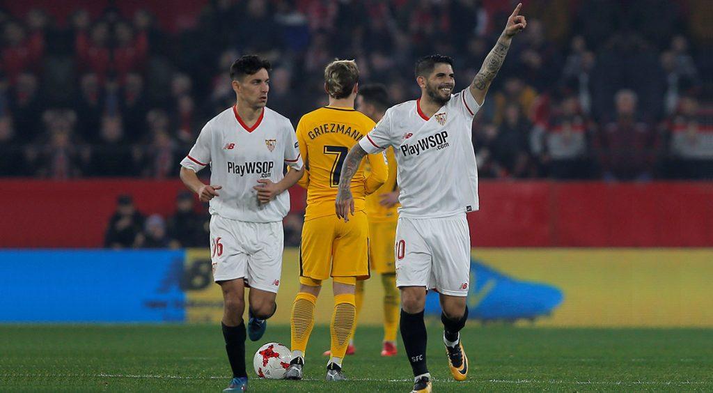 El Sevilla se clasificó a las semifinales de la Copa del Rey al golear 3-1 (5-2 global) al Atlético de Madrid, en el partido de vuelta por los cuartos de final