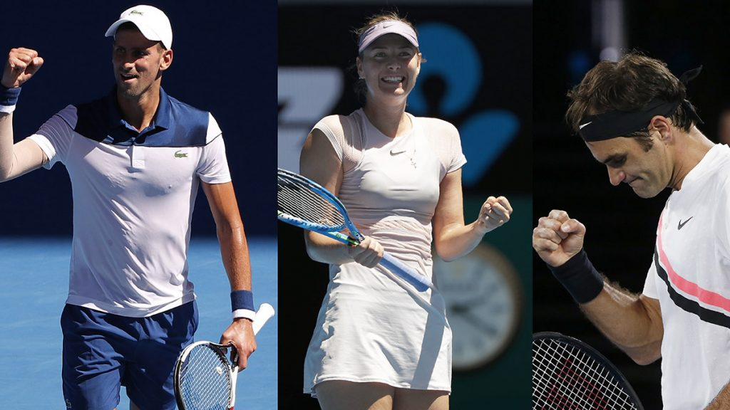 María Sharapova, Roger Federer y Novak Djokovic inician con el pie derecho en el primer Grand Slam de la temporada
